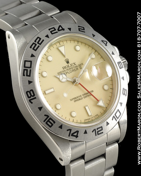ROLEX 16550 EXPLORER II CREAM RAIL DIAL STEEL