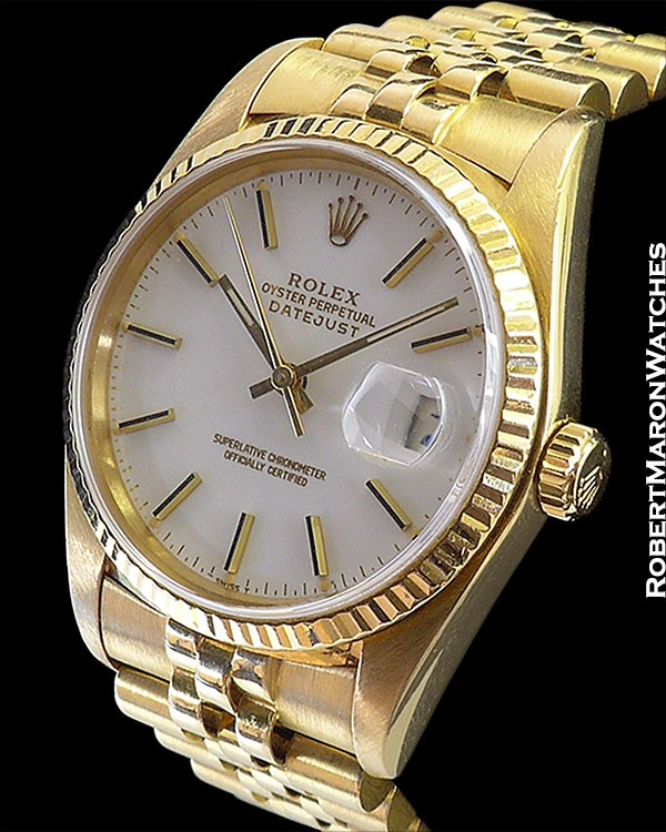 ROLEX 16018 DATEJUST 18K CHINA WHITE ENAMEL DIAL :: All...