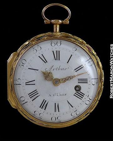 ARTHUR A PARIS 20K GOLD POCKET WATCH ENAMEL APOTHECARY SCENE 1760