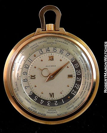 AGASSIZ WORLDTIMER 14K ROSE 45mm