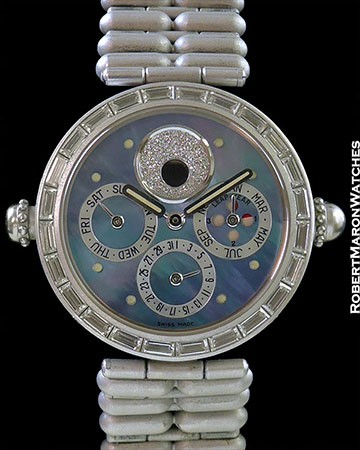 GERALD GENTA GRAND COMPLICATION MINUTE REPEATER PERPETUAL CALENDAR 18K WHITE GOLD BAGUETTE DIAMOND BEZEL AUTOMATIC BLUE MOP