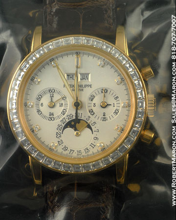 PATEK PHILIPPE 3990 J CHRONOGRAPH PERPETUAL CALENDAR DIAMONDS 18K YELLOW GOLD