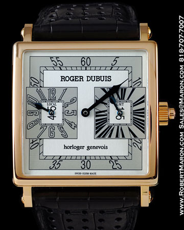 ROGER DUBUIS GOLDEN SQUARE DUAL TIME 18K ROSE