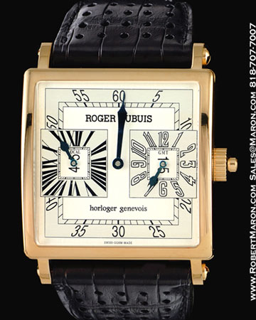 ROGER DUBUIS GOLDEN SQUARE DUAL TIME 18K ROSE GOLD
