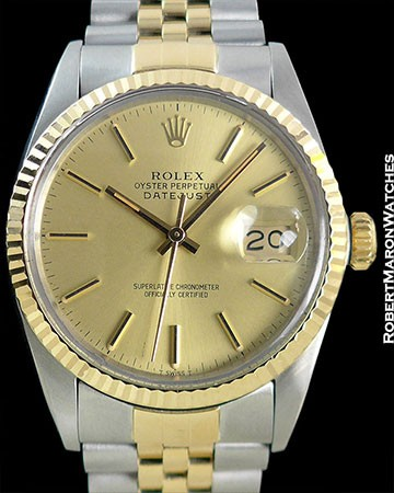 ROLEX 1601 DATEJUST 18K/STAINLESS STEEL BOX/PAPERS