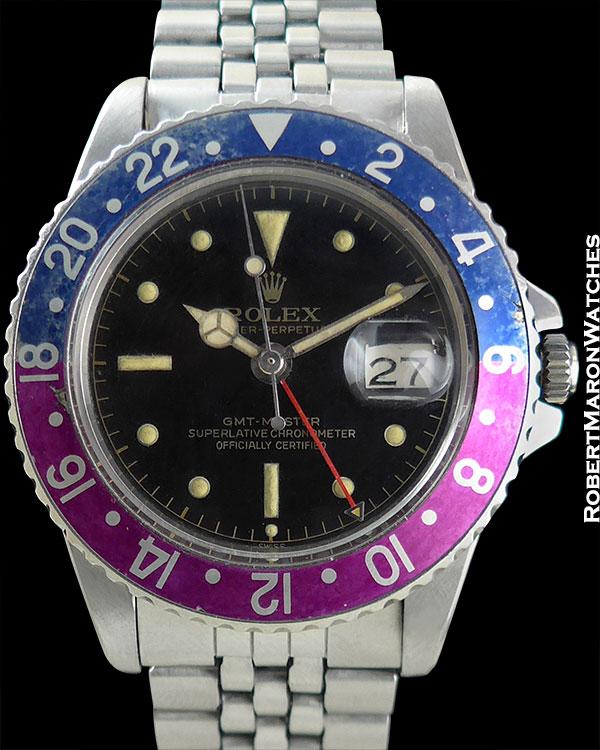 """ROLEX REF 1675 GMT PEPSI """"FUSCIA"""" TROPICAL BEZEL MK1 GILT CIRCA 1963"""