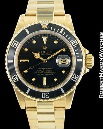 ROLEX VINTAGE SUBMARINER 16808 18K AUTOMATIC BLACK DIAL 1980