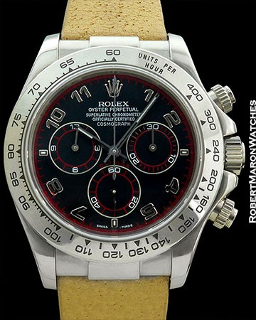 ROLEX DAYTONA 18K WHITE GOLD 116519 SPECIAL BLACK & RED DIAL