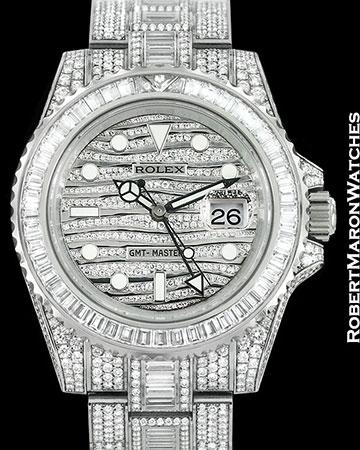 "ROLEX GMT II ""ICE"" 18K WHITE GOLD 116769TBR PAVE DIAMOND CASE NEW"