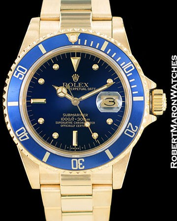 ROLEX VINTAGE SUBMARINER 16808 18K AUTOMATIC BLUE NIPPLE DIAL 1980