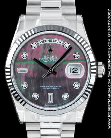 ROLEX 118239 DAY DATE PRESIDENT TAHITIAN MOP DIAMONDS 18K