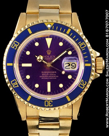 ROLEX 1680 SUBMARINER PURPLE 18K