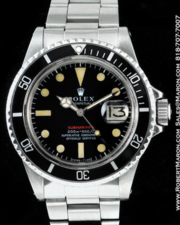 """ROLEX VINTAGE SUBMARINER 1680 RED """"METERS FIRST"""" DIAL"""