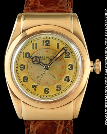 ROLEX OYSTER PERPETUAL BUBBLEBACK 3065 18K SELF WINDING MILITARY DIAL