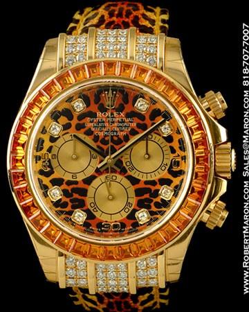 ROLEX DAYTONA 116598 18K DIAMONDS COGNAC SAPPHIRES SAFARI LEOPARD NEW