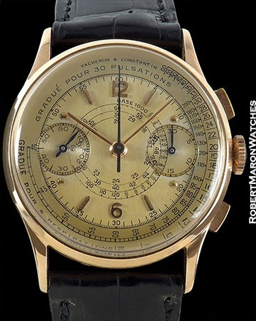 VACHERON CONSTANTIN VINTAGE 18K ROSE GOLD DOCTOR'S CHRONOGRAPH PULSATIONS & RESPIRATIONS SCALES