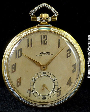 VULCAIN CHRONOMETRE ENAMEL POCKET WATCH