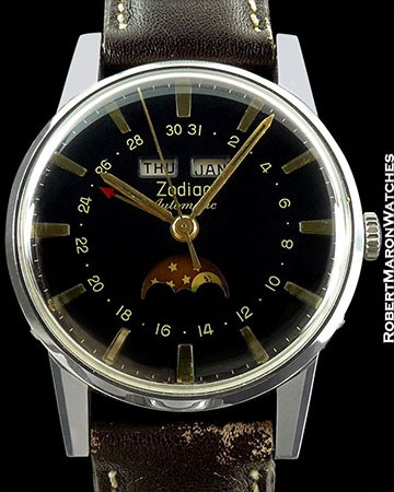 ZODIAK 3-DATE MOON BLACK DIAL STAINLESS STEEL