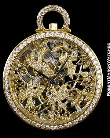 AUDEMARS PIGUET POCKET WATCH 18K SKELETON DIAMOND BEZEL