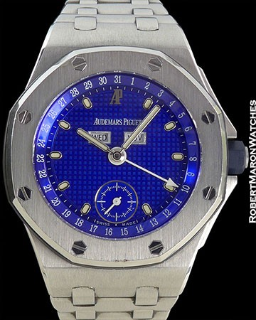 AP OFFSHORE TRIPLE-CALENDAR 'YVES KLEIN BLUE' BOUTIQUE STEEL ROYAL OAK BOX PAPERS