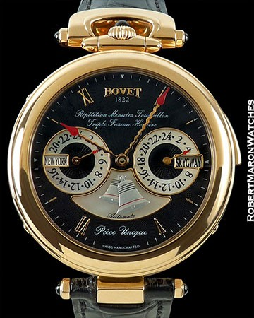 BOVET AMADEO FLEURIER 44 REPETITION MINUTES TOURBILLON TRIPLE FUSEAU HORAIRE AUTOMATE PIECE UNIQUE 18K RED GOLD