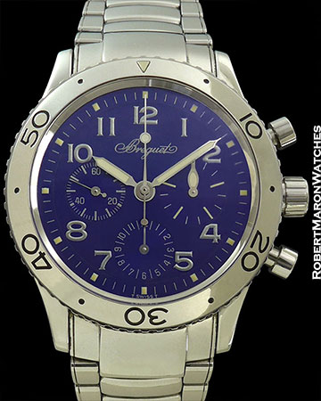 BRAGUET TYPE XX AERONAVALE WITH BLUE DIAL AND OPEN BACK RARE AND MINT