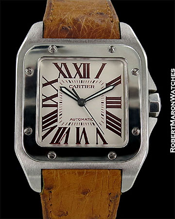CARTIER SANTOS 100 XL PLATINUM PARIS BOUTIQUE AUTOMATIC BOX PAPERS