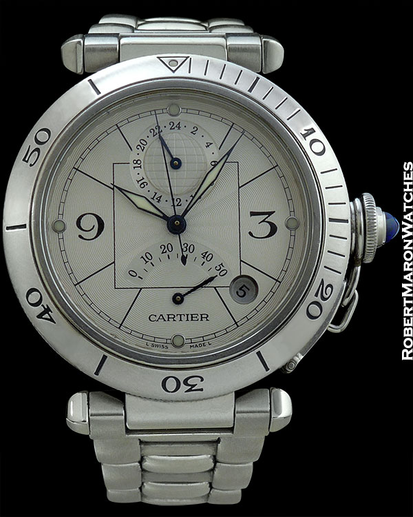 CARTIER REF 2388 PASHA DUAL TIME AUTOMATIC DATE & POWER RESERVE