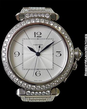 CARTIER PASHA XL 18K WHITE GOLD DIAMOND BEZEL PAVE DIAMOND BRACELET REF 2765 AUTOMATIC