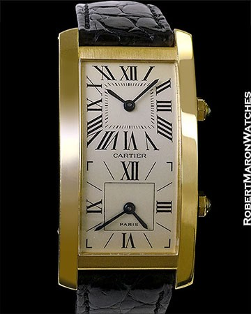 CARTIER TANK AMERICAINE CINTREE  DUAL TIME 18K