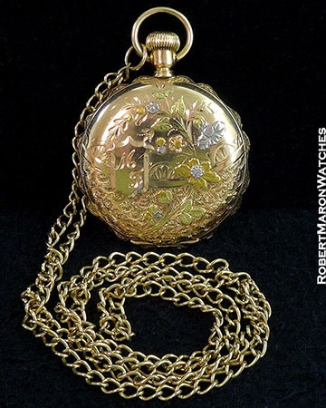 ELGIN POCKET WATCH ENAMEL DIAL 14K GOLD PLATED WITH CHAIN