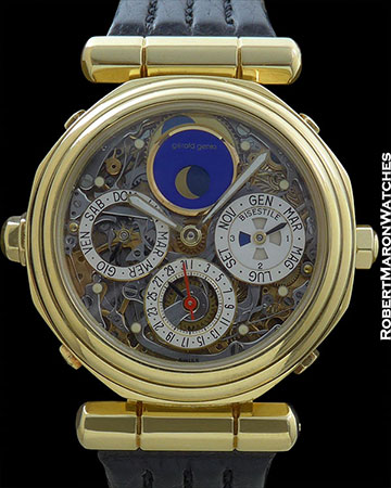 GERALD GENTA MINUTE REPEATING TOURBILLON PERPETUAL CALENDAR W/BOX & PAPERS