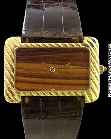 GERALD GENTA ORNATE 18K WOOD DIAL