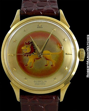 GUBELIN ENAMEL STAR DIAL LION