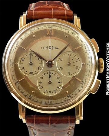 LEMANIA 18K ROSE GOLD VINTAGE CHRONOGRAPH