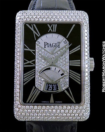 PIAGET BLACK TIE  A L'ANCIENNE 18K WG AUTOMATIC  PAVE DIAMONDS POWER RESERVE RETROGRADE SECONDS