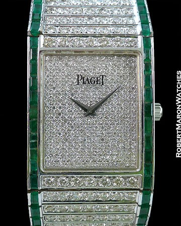 PIAGET VINTAGE 18K WHITE GOLD EMERALD PAVE DIAMOND WATCH