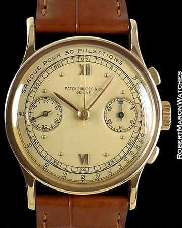 PATEK PHILIPPE VINTAGE ref 533 18K ROSE GOLD CHRONOGRAPH PULSATIONS DIAL