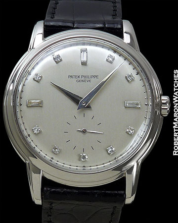 "PATEK PHILIPPE 2551 VINTAGE 18K WHITE GOLD CALATRAVA ""DISCO VOLANTE"" SCREW BACK AUTOMATIC 1950s"