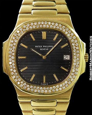 PATEK PHILIPPE JUMBO NAUTILUS 3700/1J 18K DIAMOND BEZEL