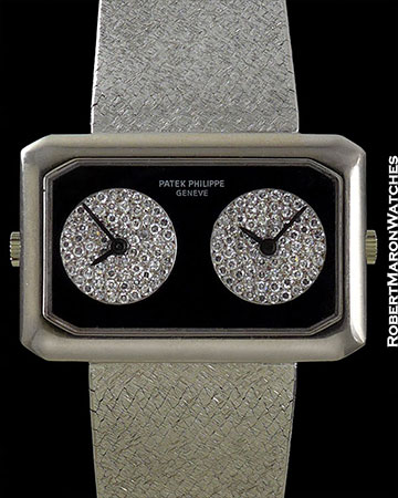 PATEK PHILIPPE 4404/4 GEMINI RARE DUAL TIME IN 18K WHITE GOLD WITH INDEPENDENT SETTING