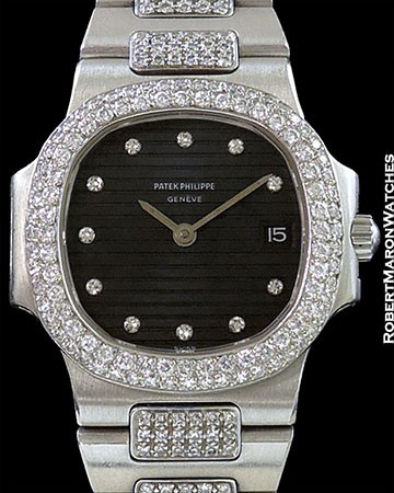 PATEK PHILIPPE LADY'S NAUTILUS 4700/5 UNPOLISHED PLATINUM DIAMOND BEZEL & BRACELET