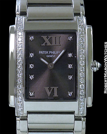 PATEK PHILIPPE TWENTY 4 4910/1A STEEL w/ DIAMONDS RARE GRAY DIAL