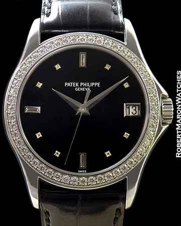 PATEK PHILIPPE 5108G 18K WHITE GOLD CALATRAVA DIAMOND BEZEL AUTOMATIC