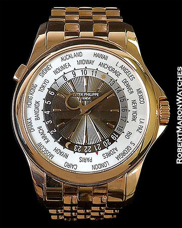 PATEK PHILIPPE WORLDTIME 5130/1R 18K ROSE AUTOMATIC SPECIAL CITIES NEW