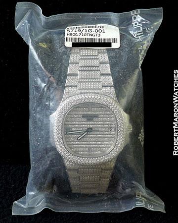 PATEK PHILIPPE 5719G NAUTILUS JUMBO 18K WHITE PAVE DIAMOND SEALED NEW