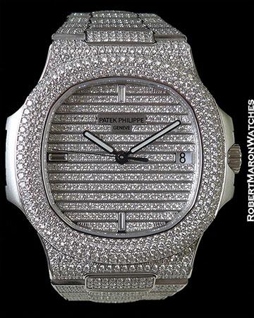 PATEK PHILIPPE 5719G NAUTILUS JUMBO 18K WHITE PAVE DIAMOND