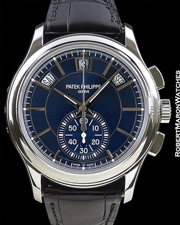 PATEK PHILIPPE 5905P PLATINUM ANNUAL CALENDAR FLYBACK CHRONOGRAPH 42MM BLUE DIAL NEW BOX & PAPERS