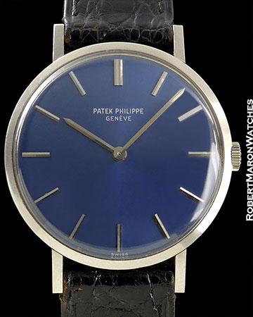 VINTAGE 18K WHITE GOLD PATEK PHILIPPE CALATRAVA BLUE DIAL