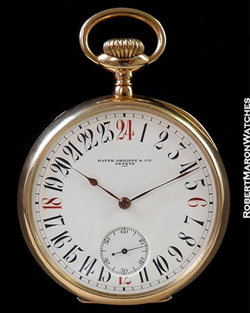 PATEK PHILLIPE CHRONOMETRO GONDOLO 18K ROSE KEYLESS 24 HOUR ENAMEL DIAL WITH RED CARDINALS